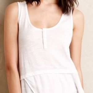 Little Yellow Button White Signe Henley Tank Top